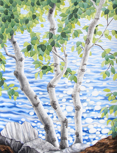 Painting of sparkling water seen through trunks and leaves of a white birch tree - a great example of Keitha's style.