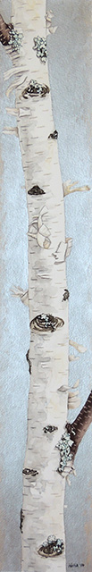 Tall narrow painting of a single white birch trunk